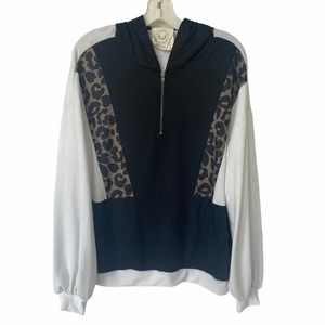 Fantastic Fawn Hoodie Leopard Black White Pullover